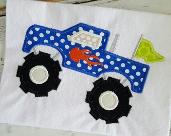 Monster Truck Applique Embroidery Design 4x4 5x7 6x10 8x12