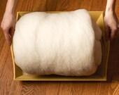 1 lb. Bulk Core Wool Batting for Needle Felting, Wool Stuffing, Felting Wool, Wet Felting, Filling, White Wool, Newborn Photography Prop
