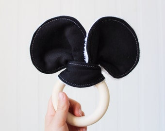 mouse ears baby teether, organic ash wooden teething ring with black fleece & white organic bamboo terry mouse ears