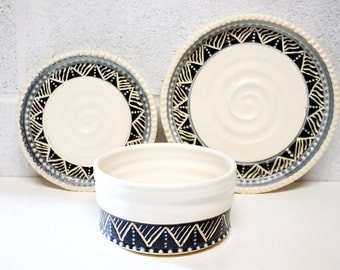 Place Setting, Set of 3 Pieces, Dinner Plate, Side Plate, and Bowl, Handmade Wheel Thrown Pottery