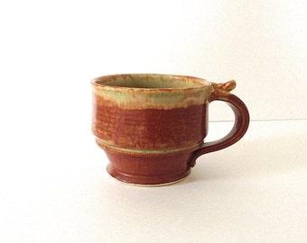 Coffee Mug Pottery Tea Cup, Handmade Wheel Thrown Stoneware, Green and Brick Red