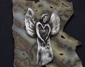 Spring Sale 10% Angel Wall Sculpture in silver pewter