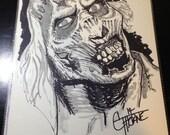 Original Ink Drawing 14 - ZOMBIE  mixed media ink / watercolor