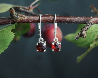 Checkerboard Garnet Dangle Earrings, Sterling Silver Leverback Earrings, Sparkly Garnet Earrings, Ready to Ship Earrings