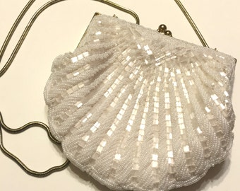 Vintage White Seed Bead And Bugle Bead Evening Bag