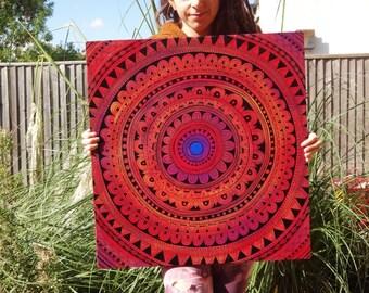 Painting, Large Original, Mandala Painting, Home Decor, Living Room, Tribal Style, Pattern, Red, UV