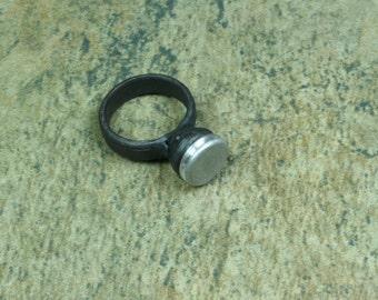 Iron ring w/ aluminum setting -- size 7 1/2 ish  -- i11690