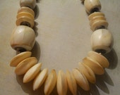 Mother-of-Pearl Statement Necklace - Large Faceted Beads and Disc Beads Choker
