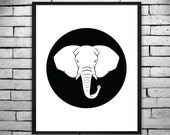 Digital Printable Poster - Black and White Elephant Print, Wall Art, Invitations - Instant Digital Download 16x20