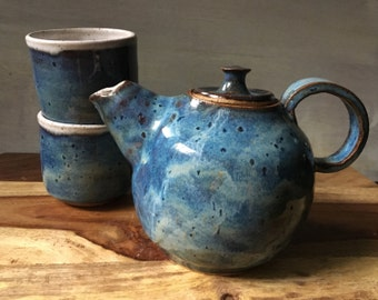 Stoneware Teapot and Cup Set, Handmade Ceramic Tea Service Set, Pottery Teapot and Teacups, Rustic Blue Teapot
