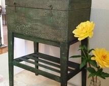 Folk Art, Country Green, Handmade  Primitive Keepsake Box on Stand