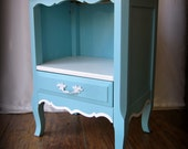 Turquoise Blue French Provincial Nightstand