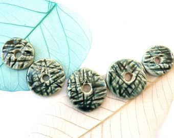 Ceramic beads ~ handmade stoneware washers, jewellery supplies, unique jewelry components, porcelain washer, rustic bead findings connectors