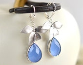 Silver Orchid and Periwinkle Teardrop Drop Earrings in Silver. Dangle Earrings. Jewelry Gift for Her. Holiday Jewelry.
