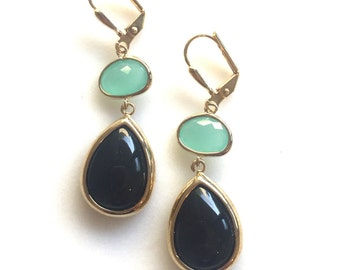 Black Stones and Aqua Dangle Earrings in Gold. Drop Earrings. Jewelry Gift. Modern. Gift for Her.