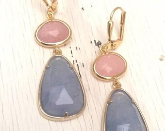 Light Purple Jade and Peach Jade Dangle Earrings in Gold. Drop Earrings. Stone Earrings. Jewelry. Gift. Wedding. Dangle.Bridal.