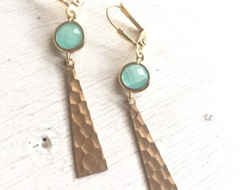 Turquoise and Gold Triangle Dangle Earrings. Jewerly. Gift. Aqua Stone and Hammered Triangle Drop Earrings. Gift. Earrings.