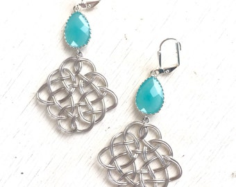 Celtic Pendant Statement Earrings with Turquoise Jewels in Silver. Dangle Earrings. Turquoise Jewelry. Gift. Wedding Jewelry.