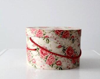 SALE vintage hat box, floral storage box