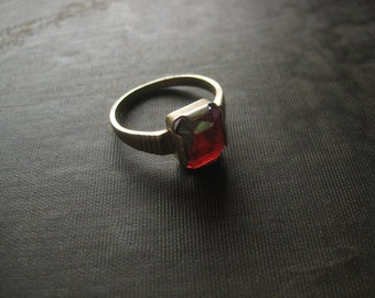 Antique Sterling Silver Red Stone Art Deco Style Ring / Avant Garde Primitive