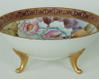 Gold Embossed Footed Nippon Wild Pink Roses Floral Candy Trinket Dish Hand Painted VERY NICE