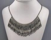Vintage Niello Necklace, Fringe Bib Necklace, Ethnic Sterling Silver, Tribal, Boho