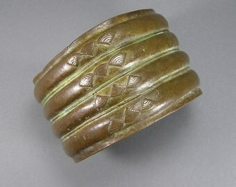 Brass Baule Cuff, Vintage African Jewelry, Ivory Coast, Cote d Ivoire, Man's Cuff, Mens, Unisex