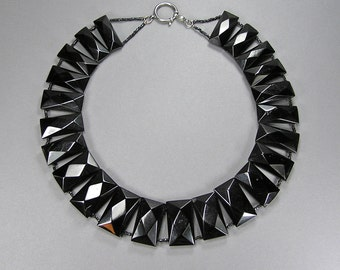 Antique Whitby Jet Necklace, Faceted Jet, Genuine Jet Necklace, Victorian Gothic