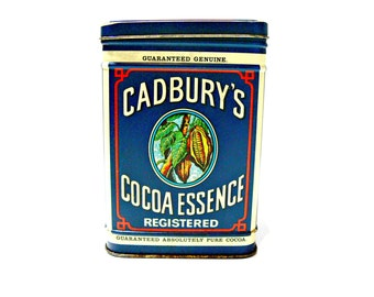 Vintage Tin with Hinged Lid - Cadbury Cocoa Essence - Made in England - Storage Container