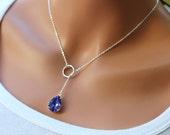 Tanzanite Swarovski Teardrop and Circle lariat necklace in STERLING Silver. Wedding. Bridal. Bridesmaids Gift.