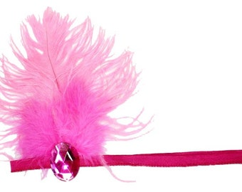 Flapper Headband Hot Pink Roaring 20's Gatsby Showgirl Ostrich Feather Fascinator