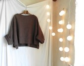 Brown Tunic in Boiled Wool - Raglan Wide Sleeves - Slouchy and Warm.  Black,Taupe and Anthracite also now in stock.