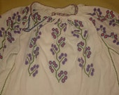 Vintage Romanian embroidered costume blouse ethnic folk