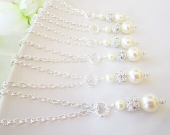 Set Of 5 Bridesmaid Necklaces,Cream Pearl Bridesmaid Necklace,Pearl & Rhinestone Necklace,Five Pearl Rhinestone Bridesmaids Necklaces