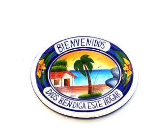 Vintage Talavera Pottery Welcome Sign Colorful Mexican Ceramic Bless This House Tropical Beach