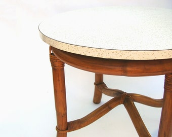 Mid century Modern Rattan Table Vintage Bent Bamboo Round Side Tables Beach Cottage Tropical Rattan Furniture