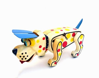 Vintage Toys Cragstan Wacky Wind Ups Dog Retro Mid century Red Yellow Spotted Dog Toy