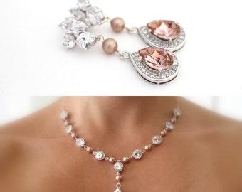 Blush Bridal Earrings and Necklace Set, Champagne Wedding Jewelry, Bridal Jewelry Rose Gold, Swarovski Prom Jewelry, Rose Quartz Wedding