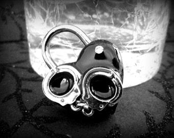 Heart Lock, lock, BDSM Lock, lock and key, locking Jewelry handcuffs and crystals