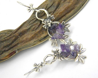 Amethyst earrings sterling silver, long dangling earrings flowers and leaves, handmade jewelry, amethyst silver earrings, gift for her