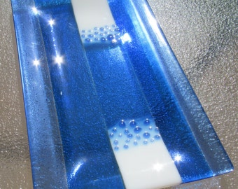 Fused Glass Plate Ocean Wave Platter Blue And White Wedding Registry