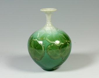 Small Emerald Crystalline Glazed Bottle