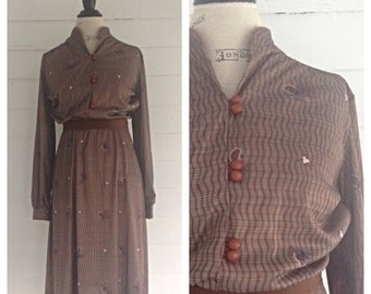 Vintage 1970s-80s Retro Print COFFEE-colored Dress w Suede Belt