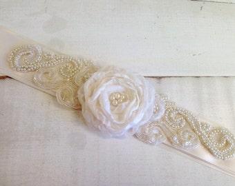 One of a Kind Soft Ivory Bridal Floral Rosette Sash