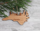 HOLIDAY SALE Laser Cut Ornament, Charlotte Skyline Holiday Wood Ornament, North Carolina CLT Skyline Engraved Holiday Christmas Ornament