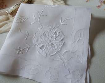Hankie Rose Applique Handkerchief Bridal Wedding