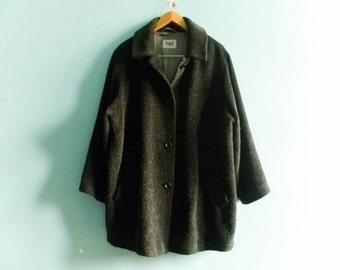 Vintage slouchy coat jacket / 90s / dark grey / wool / loose oversized medium