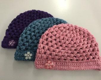 Crochet Child Beanie Hat w/Button
