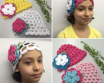 Crochet Child Mesh Hat w/Flower