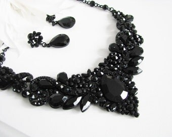 Sparkle Statement Wedding Necklace in Black Great Bridal Wedding Jewelry Pageant Jewelry
